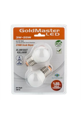 Goldmaster La-107-Bl2 3W Led Ampul E27 (Sıcak Beyaz) Küçük Gece Ampulü 2'Li Paket