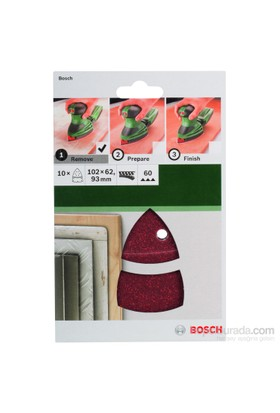 Bosch - Multi Zımpara Kağıdı 10'Lu, 102 X 62/93 Mm 60 Kum 11 Delik