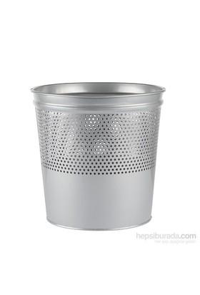 Büro Tipi Metal Çöp Kovası - Gri (Yarıya Kadar Delikli)