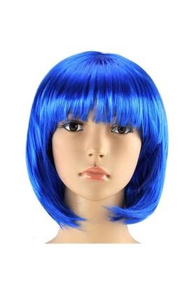 Pandoli Mavi Renk Parti Peruğu Küt Saç
