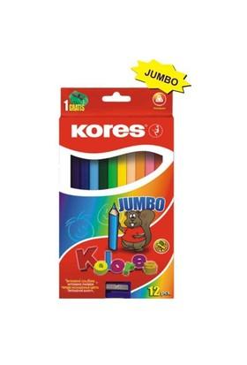 Kores Jumbo Kuru Boya Kalemi 12'li (Üçgen Gövdeli) - Kalemtraş Hediyeli
