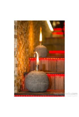 GardenLife Dekoratif Gaz Lambası - Yuvarlak Beton Gazlı Mumluk L