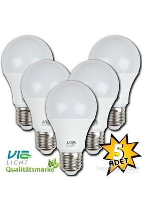 Vialicht 10W(60W)Led Ampul E27 810Lümen Eco 5'Li Paket 2700K Sarı Işık