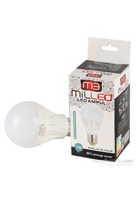 Milled Led Ampul E27 7W - Beyaz Işık