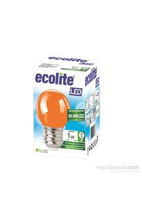 Ecolıte Led Renkli Ampul 1W E27 Turuncu Işık