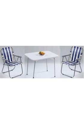 Depolife Katlanır Piknik Plaj Masa 2 Sandalye Seti