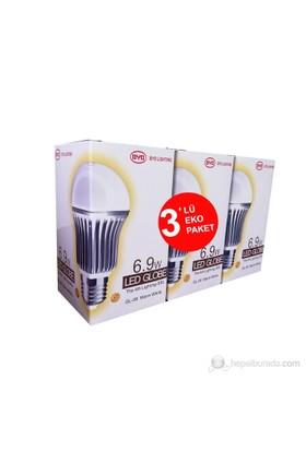 Hizmark 6,9Watt LED Ampul 40Watt Sarı Işık Eko 3'lü Paket