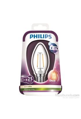 Philips Led Filament 25W Mum E14 İnce Duy Sarı Işık