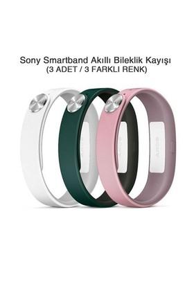 Sony SmartBand SWR110 Akıllı Bileklik Kayışı (Beyaz+Pembe+Koyu Yeşil) (Small)