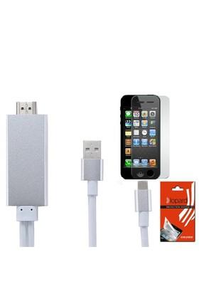 Lopard Apple İphone 5 5S Hdmi Kablo - Görüntü Aktarım Kablosu + Lopard Temperli Cam