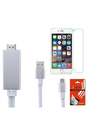 Lopard Apple İphone 6 Plus Hdmi Kablo - Görüntü Aktarım Kablosu + Lopard Temperli Cam