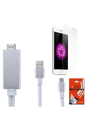 Lopard Apple İphone 6S Plus Hdmi Kablo - Görüntü Aktarım Kablosu + Lopard Temperli Cam