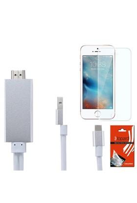 Lopard Apple İphone Se Hdmi Kablo - Görüntü Aktarım Kablosu + Lopard Temperli Cam