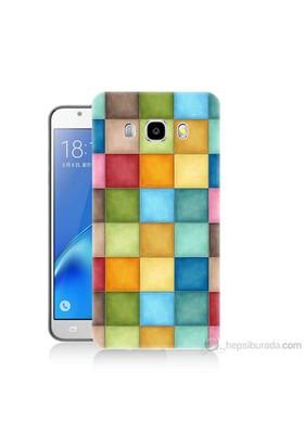 Teknomeg Samsung Galaxy J7 2016 Kapak Kılıf Renkli Kareler Baskılı Silikon