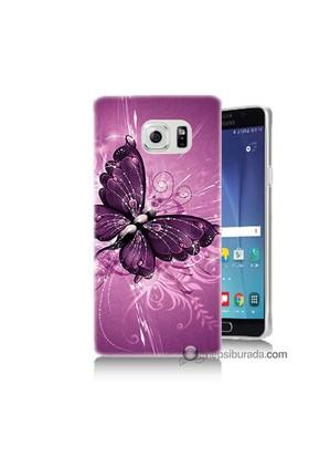 Teknomeg Samsung Galaxy Note 5 Kılıf Kapak Mor Kelebek Baskılı Silikon