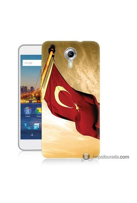 Teknomeg General Mobile 4G Android One Kılıf Kapak Türk Bayrağı Baskılı Silikon