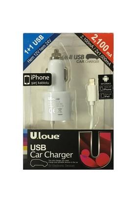 Ulove YC01-A -2100mA 1 USB port + iPhone 5/6 Kablolu - YC01-A