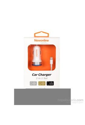 Newonline iPhone 6/6 Plus/5/5s Araç Şarj ve USB Kablo (2.1A) - NW-IP5/6G-CAR