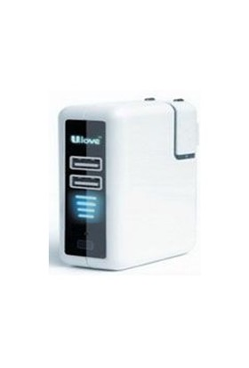 Ulove UPS02 -1000mA 2 USB port 2600 mAh Batarya + Araç + Duvar Şarj Cihazı - UPS02
