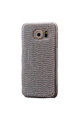 Teleplus Samsung Galaxy S6 Edge Taşlı Rubber Kapak Gri