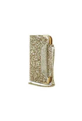 Teleplus Samsung Galaxy S4 Zincirli Taşlı Kılıf Gold