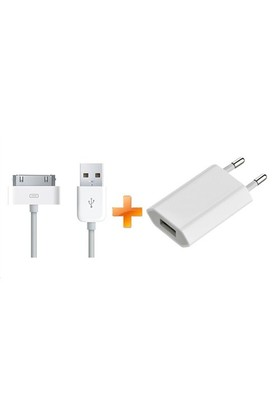 Apple iPhone 4 / 4S / iPad / iPad 2 Usb Power Adapter + Data Kablosu