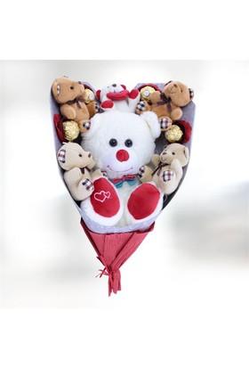 Sevgiliye Romantik Hediye Love Çikolatalı Ayıcık Buketi