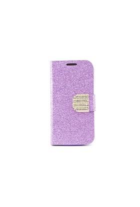 Teleplus Samsung Galaxy S4 Mini Taşlı Cüzdanlı Deri Kılıf Mor Renk