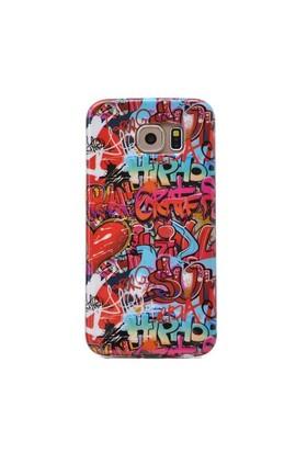 Teleplus Samsung Galaxy S6 Desenli Silikon Kılıf Kırmızı Yazı
