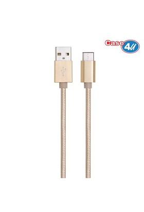 Case 4U Usb 3.1 Type-C Şarj Ve Data Kablosu İp Doku 1 Metre Altın