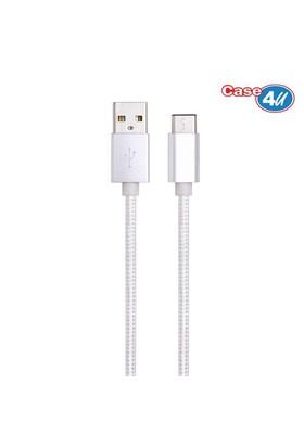 Case 4U Usb 3.1 Type-C Şarj Ve Data Kablosu İp Doku 1 Metre 1 Metre Gümüş