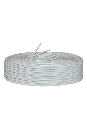 Ttec Tsn 2'Li Yassı Telefon Kablosu 100 Metre Gri