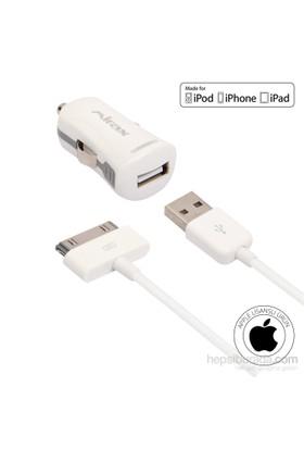 Mirax iPhone 4/4S/iPad/iPod Araç Şarj Kiti (Apple Lisanslı) - mirax SCT-4210