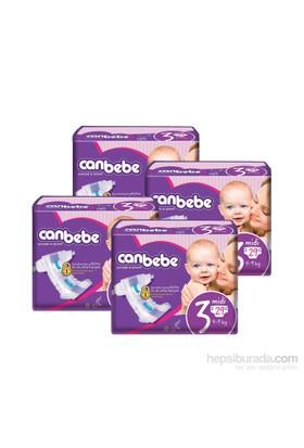 Canbebe Bebek Bezi Süper Ekonomi 4'lü Paket 3 Beden 116 Adet