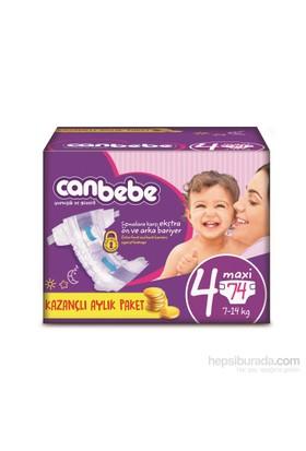 Canbebe Bebek Bezi Aylık Paket 4 Beden 74 Adet