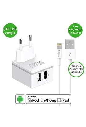Lityus Çift Çıkışlı Duvar Şarj Cihazı + Lightning Kablo (Beyaz) - AKLWCD039902