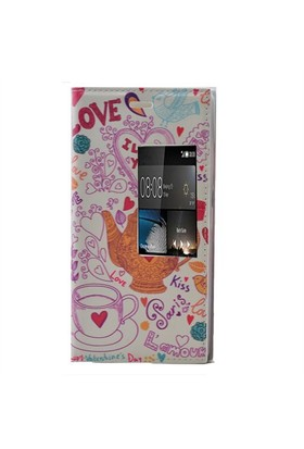 Teleplus Huawei P8 Desenli Pencereli Kılıf Love