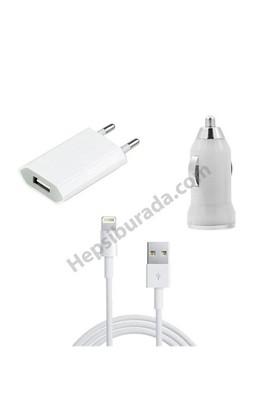 Fonemax Apple İphone 5-5C-5S 3İn1 Ev Ve Araç Şarjı + Data Kablosu Seti İos 9,2 Destekli