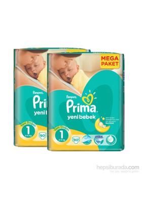 Prima Bebek Bezi Yeni Bebek Mega 2'li Paketi Yenidoğan 1 Beden 80 Adet