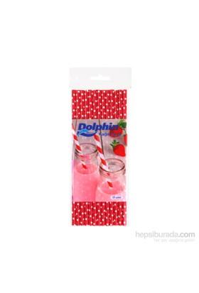 KullanAtMarket Dolphin Beyaz Puantiyeli Kırmızı Kağıt Pipet 25 Adet