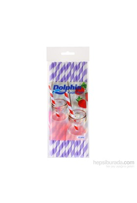 KullanAtMarket Dolphin Lila Çizgili Beyaz Kağıt Pipet 25 Adet