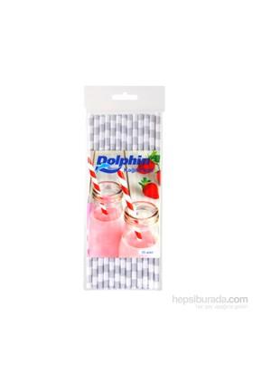 KullanAtMarket Dolphin Gümüş Çizgili Beyaz Kağıt Pipet 25 Adet