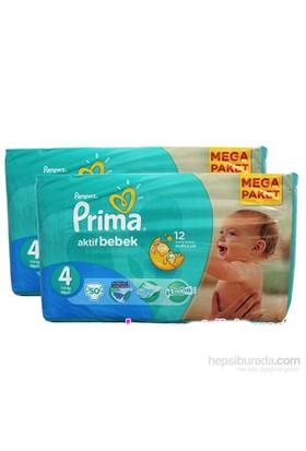 Prima Bebek Bezi Aktif Bebek Mega 2'li Paket 4 Beden 100 Adet