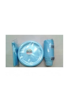 Mavi Renk 25 Li Plastik Bardak+Catal+Tabak