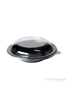 KullanAtMarket Kapaklı Siyah Yayvan Salata Kasesi 50'Li 100 Adet