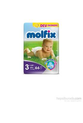 Molfix Bebek Bezi 3+ Beden Midi Plus Dev Ekonomik Paket 66 adet