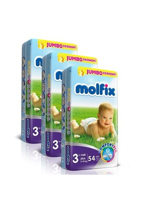 Molfix Bebek Bezi Comfort Fix Jumbo 3'lü Paket 3+ Beden 162 Adet