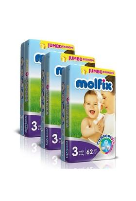 Molfix Bebek Bezi Comfort Fix Jumbo 3'lü Paket 3 Beden 186 Adet