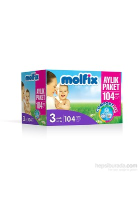 Molfix Bebek Bezi Comfort Fix Aylık Paket 3 Beden 104 Adet