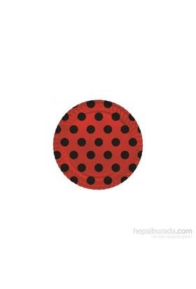 KullanAtMarket Siyah Puantiyeli Kırmızı Karton Tabak 8 Adet